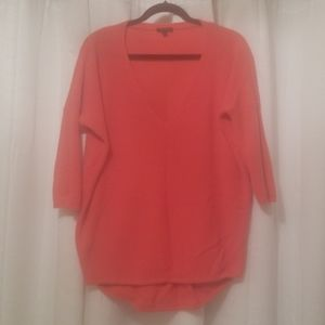 Express 3/4 coral tunic sweater